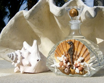 Glass Bottle, Decanter with Seashells and Seahorse accents for your coastal, beach home decor