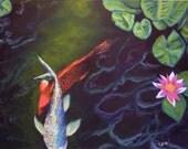 "Study of Koi I  11"" x 14"" Giclee On Canvas/ Fine Art Print"