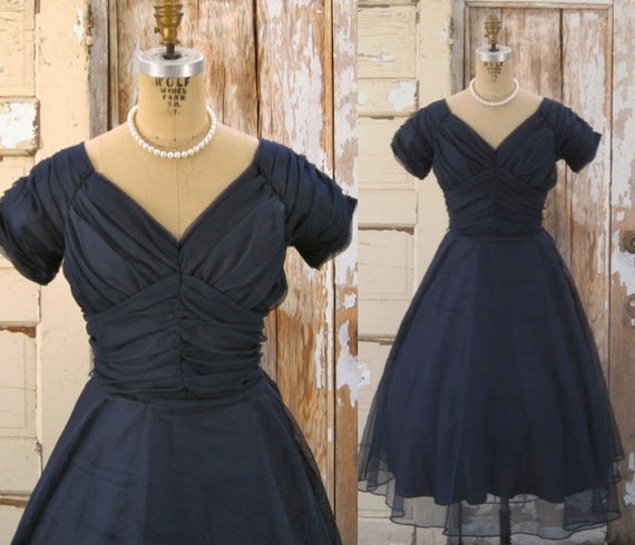 Vintage 1950s Dress Mad Men Party Dress Navy By