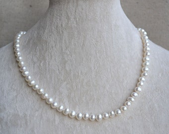 White pearl necklace - 18 inches 6-7mm Freshwater Pearl Necklace ,Wedding necklace,Pearl Jewelry,real pearl necklace, statement necklace