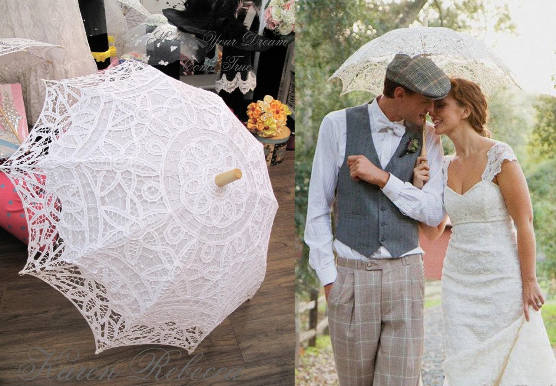 Special offer battenburg lace vintage umbrella parasol for for Umbrella wedding photos