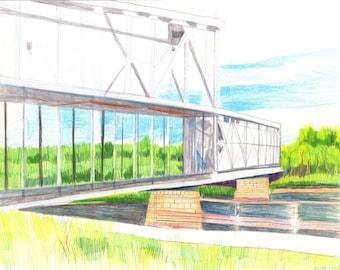 """Bridge over the Missouri River in Kansas City. Colored Pencil on Bristol Board. 11"""" x 14"""". Original Landscape Drawing."""