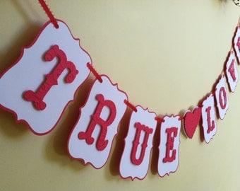 True Love Wedding Banner, Love Valentine Banner, Engagement Banner, Engagement Photo Prop, Love Banner, Wedding Banner READY TO SHIP