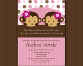 Pink Twin Monkey Baby Shower Invitation