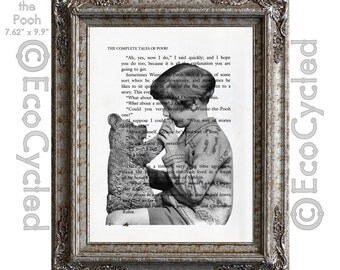 Real Christopher Robin and Winnie the Pooh on Vintage Upcycled Dictionary Art Print Book Art Print classic Pooh nursery book lover gift