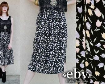 Vintage 90s Black Tulips Floral Midi Skirt XS S Tulips Skirt Floral Skirt Summer Skirt