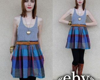 Plaid Skirt Plaid Mini Skirt High Waisted Skirt High Waist Skirt Vintage 80s High Waisted Plaid Wool Mini Skirt L XL
