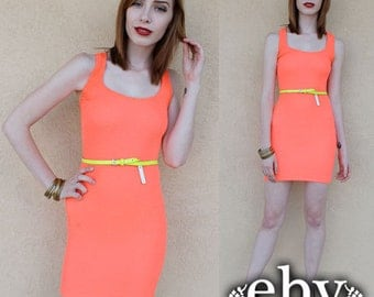 Bodycon Dress Bandage Dress 90s Dress 1990s Dress Stretch Dress Neon Orange Dress Club Dress Rave Dress Kandy Kid Dress Raver Dress XS S