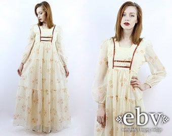 Vintage Hippie Dress Boho Wedding Dress Hippie Wedding Dress Hippy Dress Festival Dress Vintage 70s Cream Floral Hippy Wedding Dress XS S