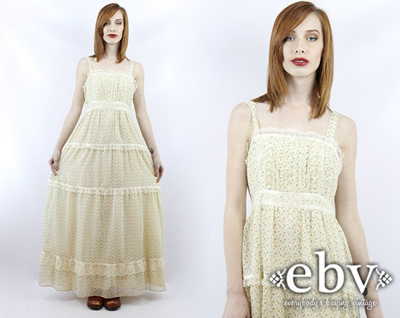 Vintage 70s Hippie Prairie Girl Wedding Dress Gown S M: Vintage Hippie Dress Hippy Dress Hippie Wedding Dress Hippy