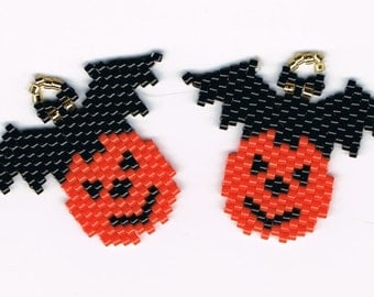 Hand Beaded Jack O Lantern Pumpkin with Black Bat earrings