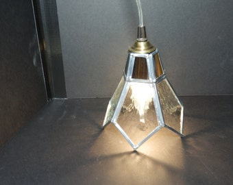 Small Pendent Light: Clear with Dark Amber Glass (NEW)