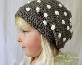 Crochet PATTERN: The Ashby Slouchy Beret -Toddler, Child, & Adult Sizes- polka dot, simple, beanie, fall,
