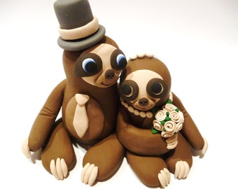 Sloth Wedding Cake Topper - Choose Your Colors