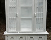 Vintage China Cabinet  Hutch Painted White By Foo Foo La La FREE DELIVERY!
