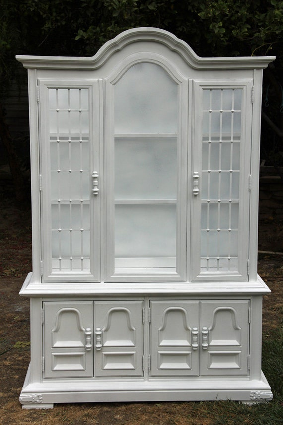 Vintage China Cabinet Hutch Painted White By Foo Foo La La