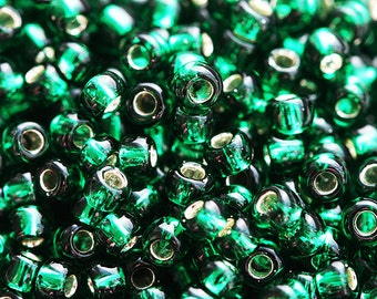 TOHO seed beads, size 11/0, Silver Lined Green Emerald, N 36, rocailles, glass beads - 10g - S042