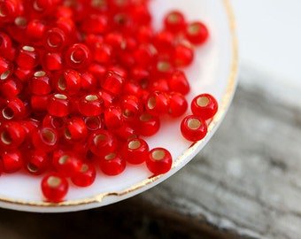 Rustic red Seed beads, TOHO, size 11/0, Silver Lined Frosted Lt. Siam Ruby, N 25F, glass beads - 10g - S208