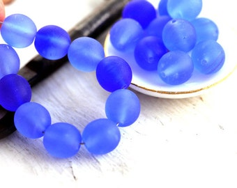Periwinkle Blue matte beads, czech glass, mixed blue color - round, druk - 8mm - 20Pc - 1314