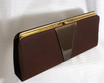 Vtg 50's Brown Fabric and Faux Patent Leather Clutch