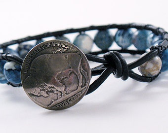 Blue Crackle Agate Bead Leather Wrap Bracelet - Buffalo Nickel Button - Gifts Under 25