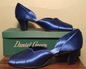 Vintage 1940s Daniel Green Royal Blue Satin Peep Toe Slippers Shoes Heels NOS 8 8.5