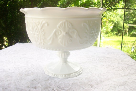 Vintage milk glass compote pedestal bowl table by gardenofchic