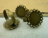 5 pcs Antique Bronze copper filled filigree Adjustable Rings Base settings with 18mm Round double laces Pad fc90584