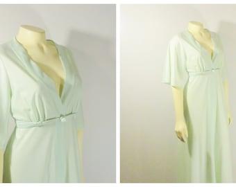 Vintage Robe Dressing Gown Peignoir Nylon Satin Mint Pistacchio Seafoam Green Hostess Shadowline Rope Waist  Modern Small to Medium RARE