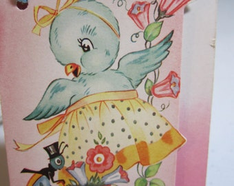 Adorable 1940's-50's die cut unused bridge tally with spring theme bluebird dressed in apron and cricket in top hat pushing flower cart