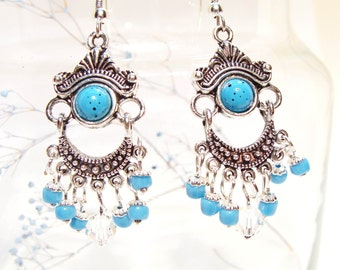 Blue Turquoise and Silver Chandelier Style Earrings with Swarovski Crystals