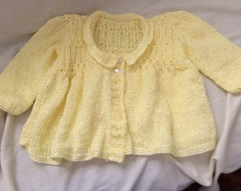 Hand Knit Toddler Cardigan in Pale Yellow Size 3 - 4