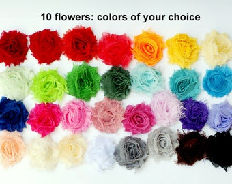 "SALE - Mini Shabby Flowers - Frayed Flower - Set of 10 - Fabric Flower - 1.5"" Flowers - You Choose Colors - Wholesale Fabric Flower - MINIS"