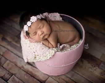 Newborn Flower Halo, Newborn Headband, Light Pink, Cream, Flower Headband, Photo Prop