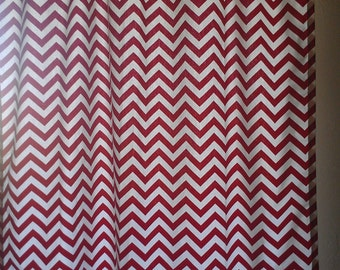 Red Chevron Curtain Panels or Valance