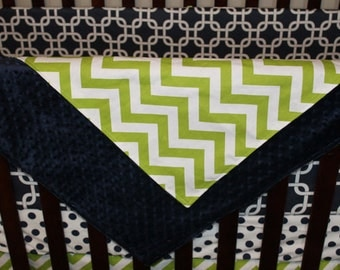 Lime Chevron and Minky Crib Blanket