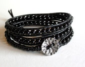 Basic Black - Triple Wrap Black Obsidian Leather Wrap Bracelet