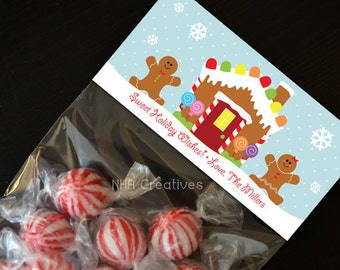 Personalized Gingerbread Theme Christmas Treat Bag Topper - DIY Printable Digital File
