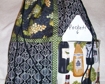 I love wine with wine bottles and grape clusters black ripstop nylon drawstring backpack with front zipper pocket