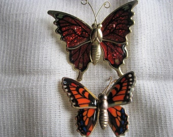 Two Vintage Reddish Orange Butterfly Pins