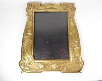 Vintage Brass Frame Girl with Geese - Vintage Brass Photo Frame