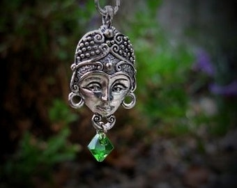 Kubera Djinn God Amulet Fantasy Jewelry Genie Pendant Green Crystal Bead Wiccan Good Luck Pagan Metaphysical New Age Spiritual