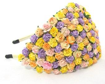 Yellow peach and lavender Bridal Hat Wedding Headpiece fascinator Vintage statement headband haircomb bridesmaid flowergirl