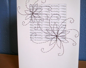 Birthday Card, Stitched Flower Greetings Card,