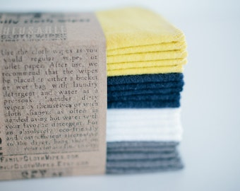 Baby Wipes Cloth Wipes Set of 20  -  Baby Wipes - Reusable Flannel Wipes ( Yellow - Blue - White - Grey)