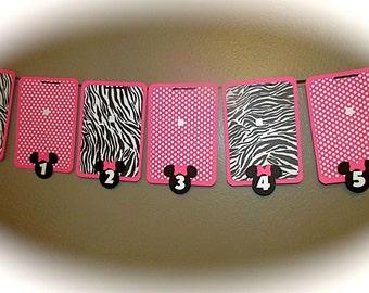 Pink Polka Dot and Zebra Minnie Mouse Photo banner - nb-12 photo display