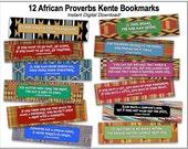 12 African Proverbs Kente Bookmarks - Printable Digital PDF Files - Instant Download