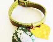 Genuine leather belt bracelet. Green bracelet. Love bracelet. Ceramic bracelet. Gold plated bracelet. Acuarela bracelet.