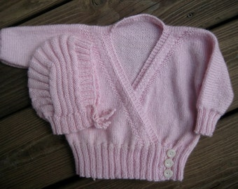 Baby Sweater and Hat Pink Wool Hand-Knit Surplice Infant Sweater