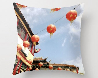 Chinatown Sofa Pillow, Red Paper Lanterns Accent Pillow, Pagoda Throw Pillow Cover, 18x18 22x22 Wanderlust Decorative Pillow Cushion